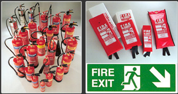 Fire extinguishers, fire blankets and fire saftey signage